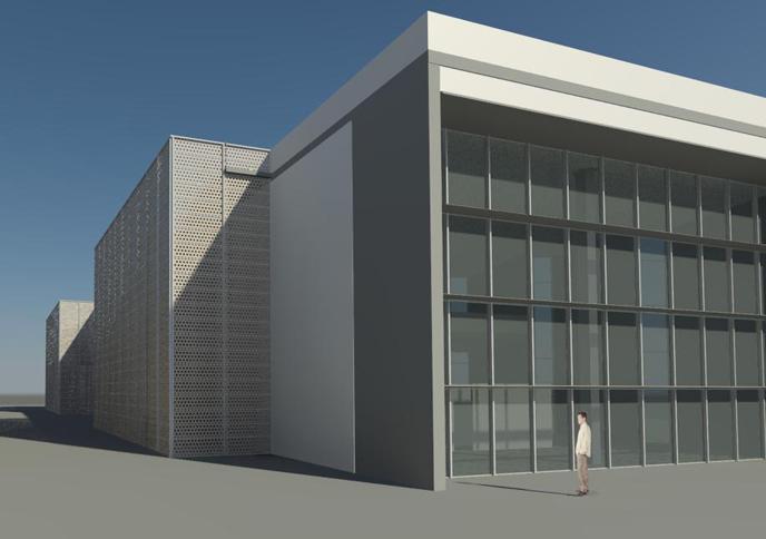 tema d'anno: Biblioteca Lab3M - V. Grassi (Dettaglio lamiera forata uso copertura scale ...